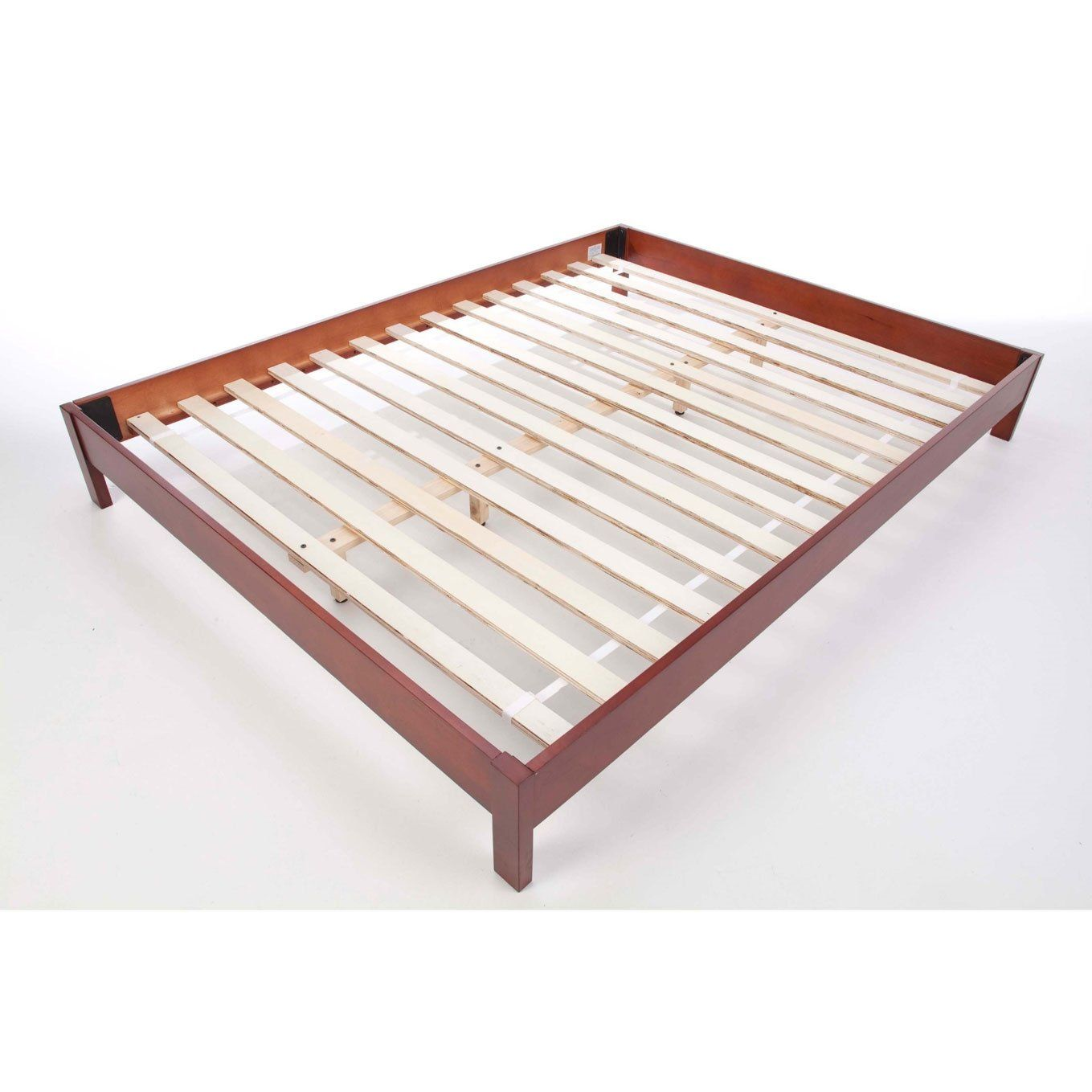 Queen Size Japanese Style Platform Bed Frame in Mahogany