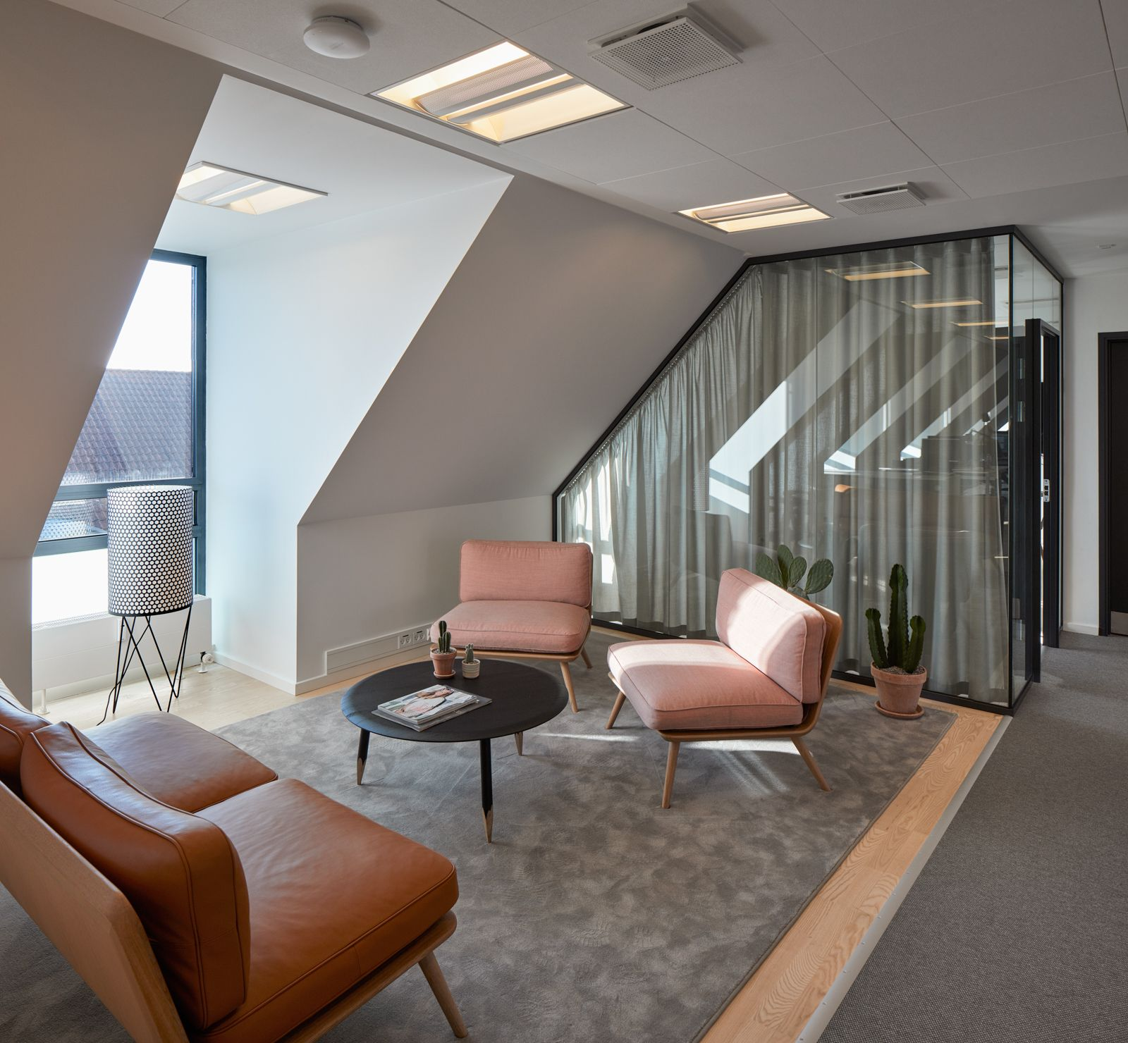 Office interior and lounge area at clear channel in