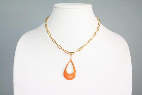 Orange Large Teardrop Pendant On Gold Chain by BrickRoadBeading