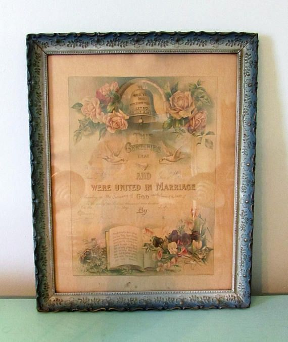 Reserved Aqua Gesso Picture Frame Antique 1909 Marriage