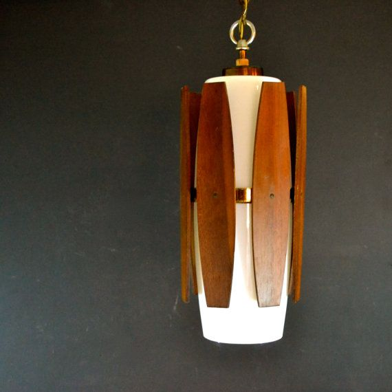 Danish modern hanging light fixture teak and white glass hanging danish modern hanging light fixture teak and white glass hanging pendant lamp wired in mozeypictures Images