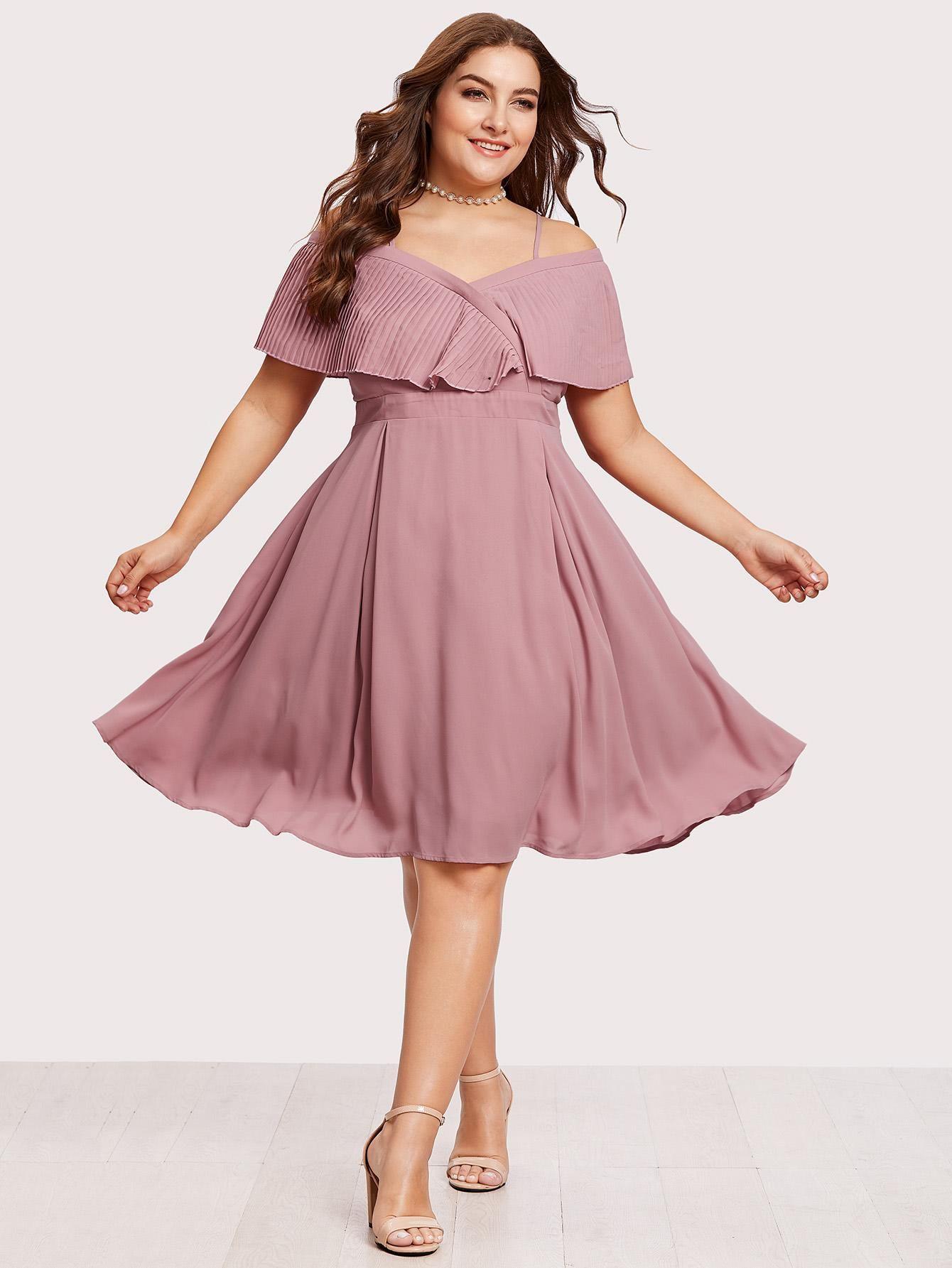 Shein Shein Pleated Flounce Trim Overlap Bardot Dress Adorewe Com Plus Size Party Dresses Plus Size Cocktail Dresses Plus Size Fashion [ 1785 x 1340 Pixel ]
