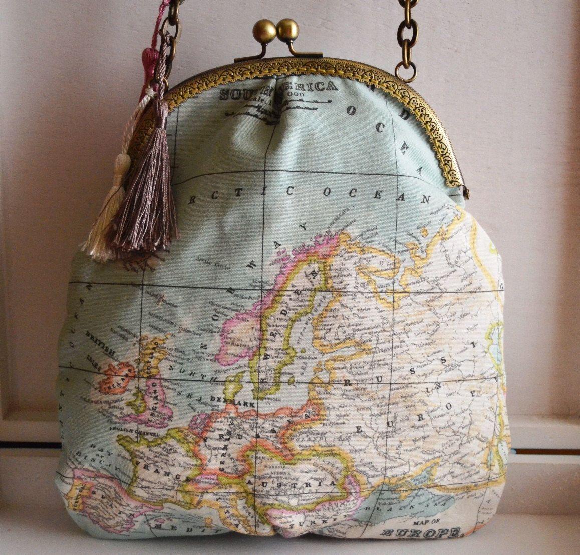Bon voyage kiss lock bag world map fabric by pupettas on etsy bon voyage kiss lock bag world map fabric by pupettas on etsy gumiabroncs Images