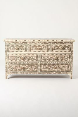 carved, bohemian, moroccan, gypsy, home decor, bedroom furniture Anthropologie Ivory Inlay Dresser