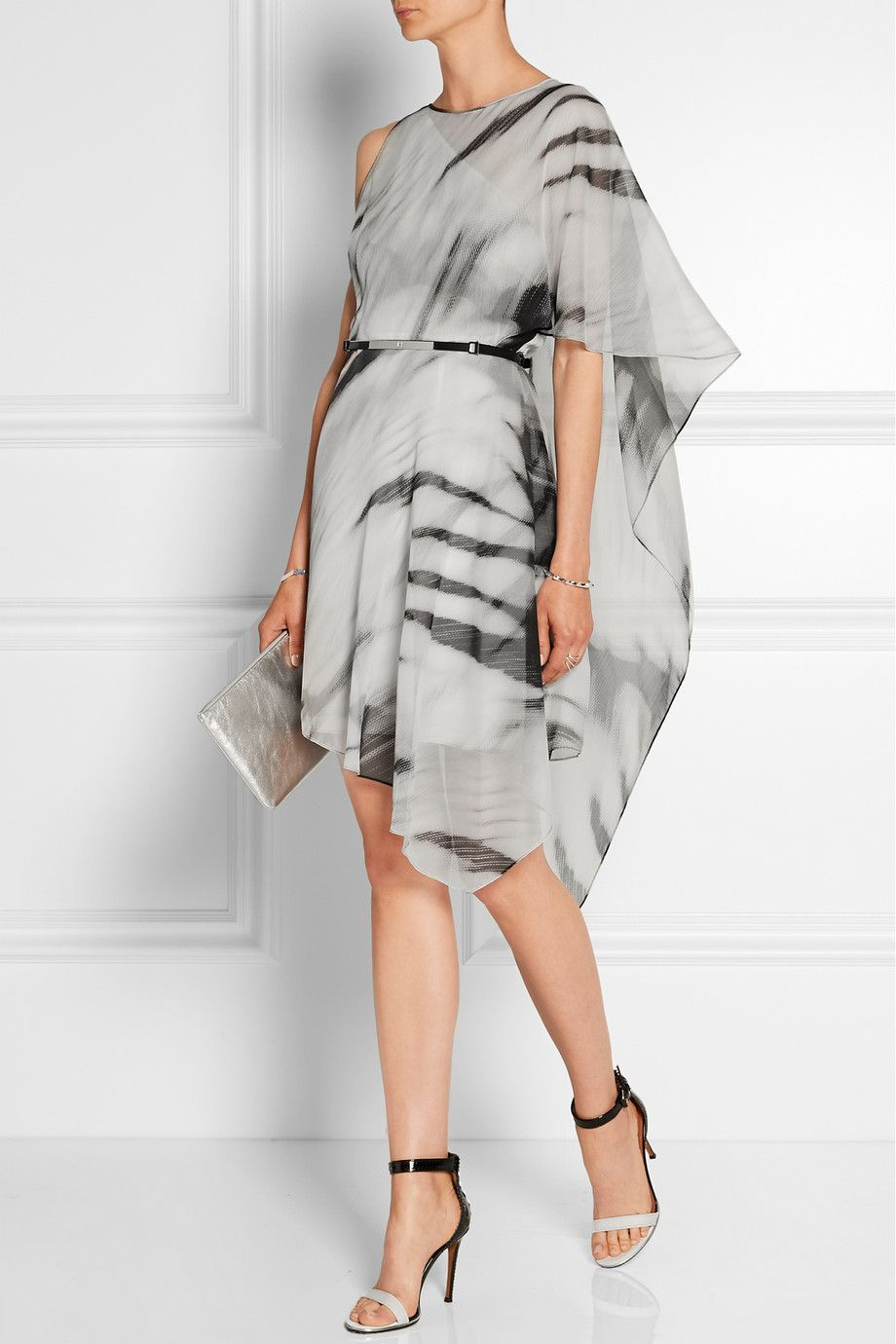 Halston Heritage | Asymmetric printed chiffon dress | NET-A-PORTER ...