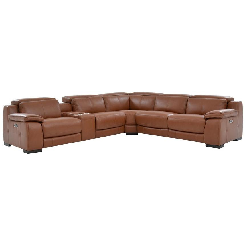 Gian Marco Tan Leather Power Reclining Sectional Reclining
