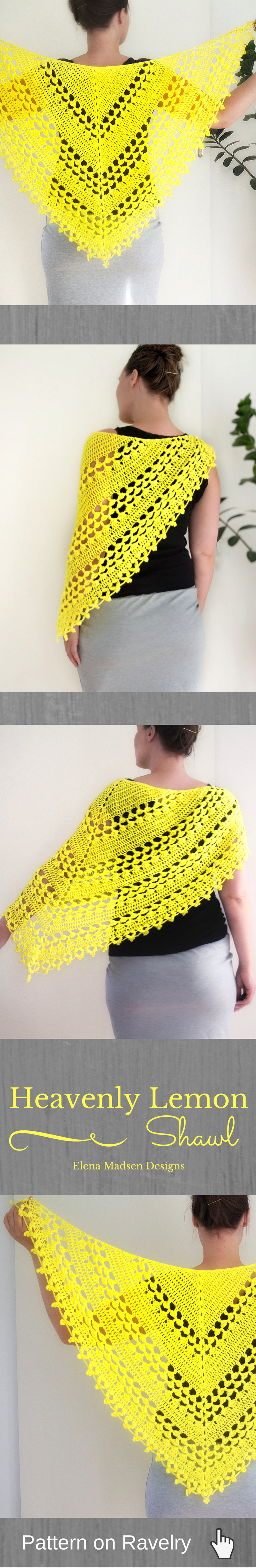 Heavenly lemon pattern by elena madsen crochet shawl patterns crochet shawl pattern easy to make lovely triangle shawl with the perfect lacy look bankloansurffo Choice Image