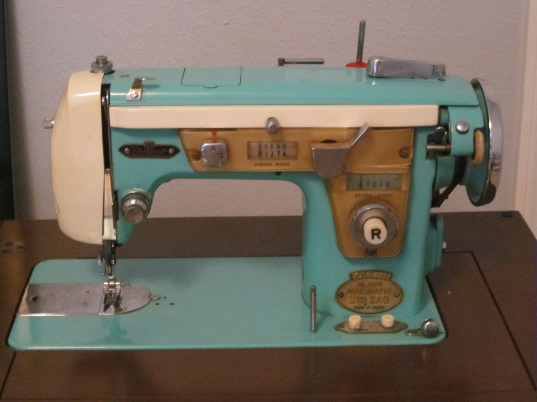 Aqua 50s Fleetwood Sewing Machine 19800 Via Etsy Vintage Threading Guides Stitch Nerd