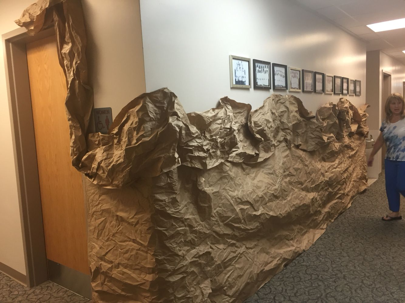 Cave Wall Using Carpet Tubes And Brown Kraft Paper Vbs