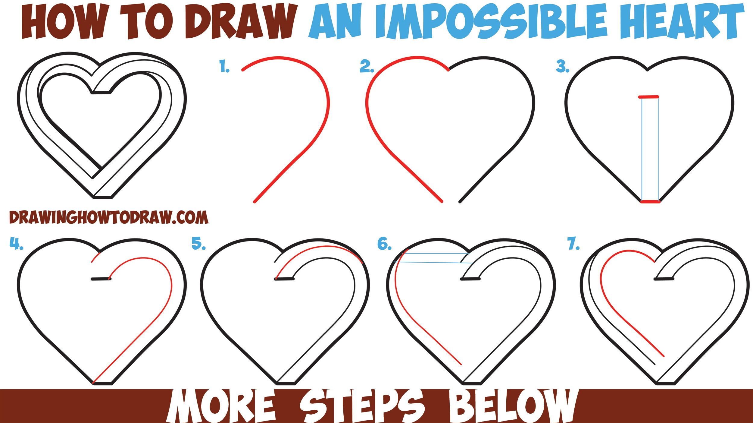 How to draw an impossible heart easy step by step for Easy drawing ideas for beginners