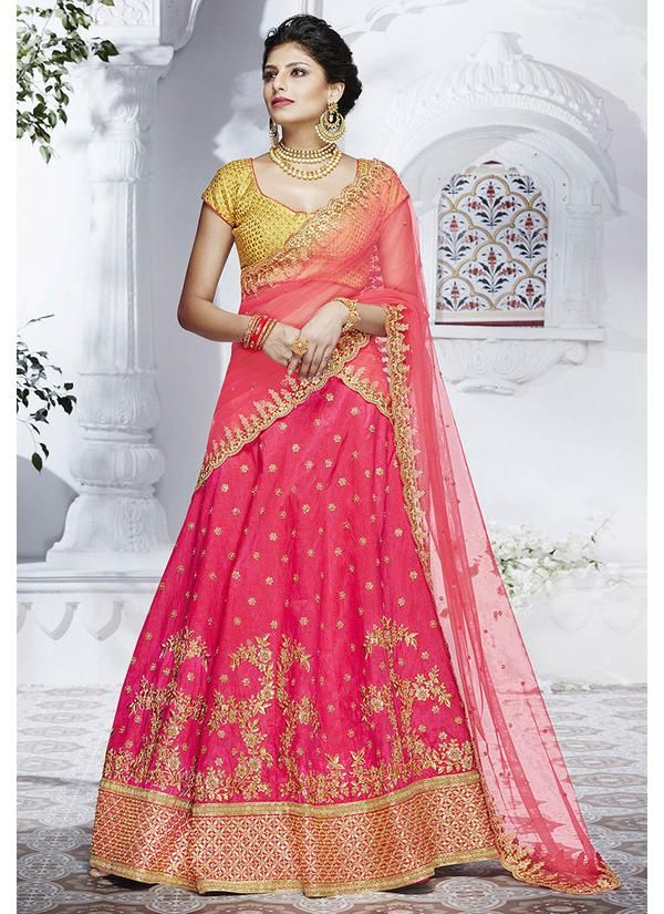 b879058aac Pink Embroidered Art Silk Lehenga with Short Sleeve Choli | Lehenga ...