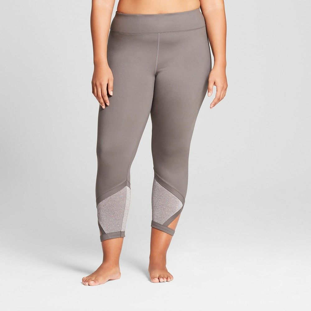 b9ab70849 Plus Size Women s Plus Comfort 7 8 Shine Pieced Mid-Rise Leggings - JoyLab  Gray 4X