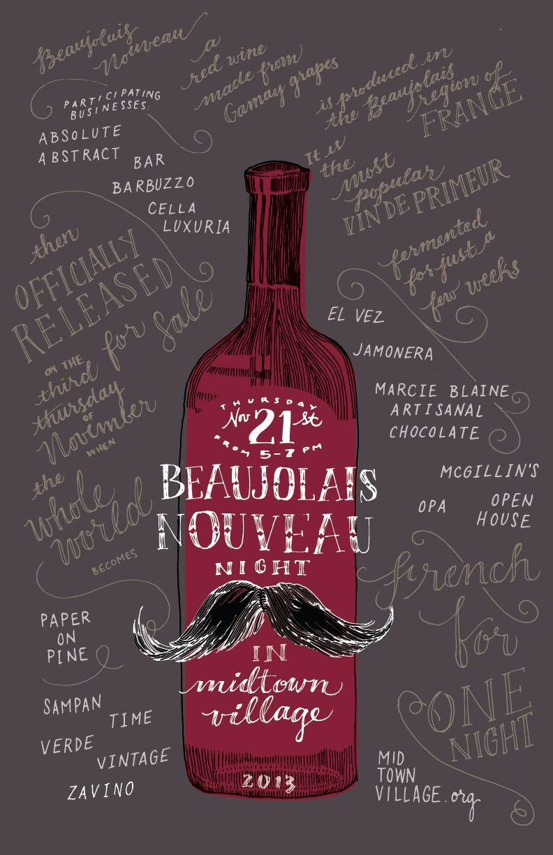 10 Fun Posters Celebrating Beaujolais Nouveau Day All Around The World Beaujolais Nouveau Wine Bottle Label Design Beaujolais