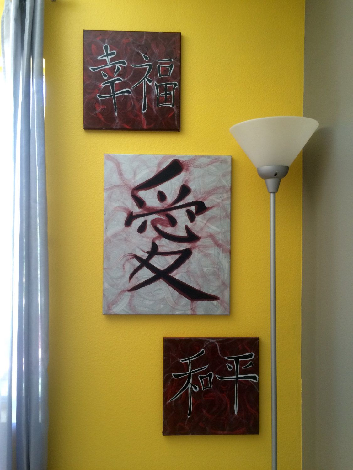 Happiness, Peace, Love, Japanese, Modern art, Canvas for wall decor ...