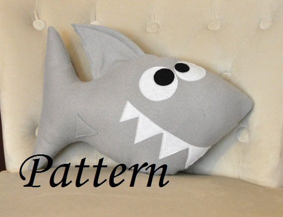 Shark Pillow shark plush pattern pdf tutorial and printable templates -chomp