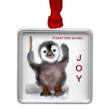 """Penguin Conductor!"" Metal Ornament - metal style gift ideas unique diy personalize"