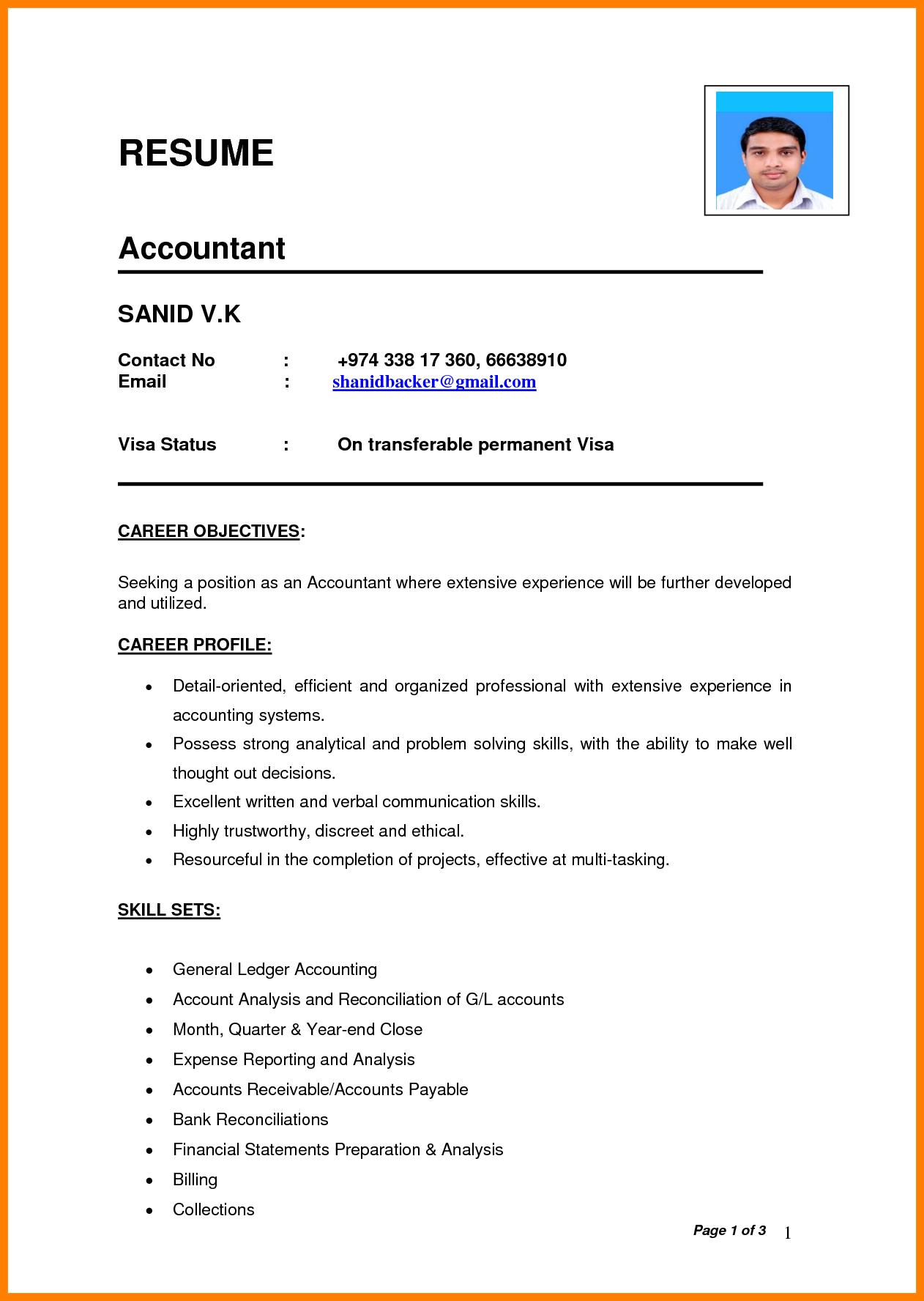 Resume Format For Job Pdf