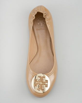 7bc635ed8e9 Tory Burch Reva Tumbled Patent Ballerina Flat, Tan - Neiman Marcus ...