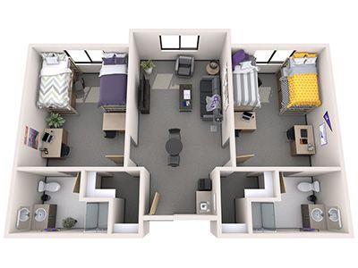 Sedona Hall Campus Housing Grand Canyon University Student House Dormitory Room Dorm Design