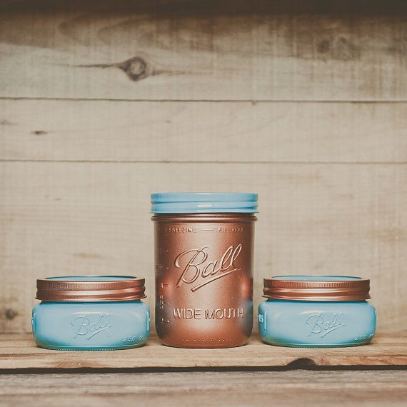 painted mason jar set. Desk organizer, makeup brush holder. Turquoise and copper decor. on Etsy, $24.00   man I love mason jars.