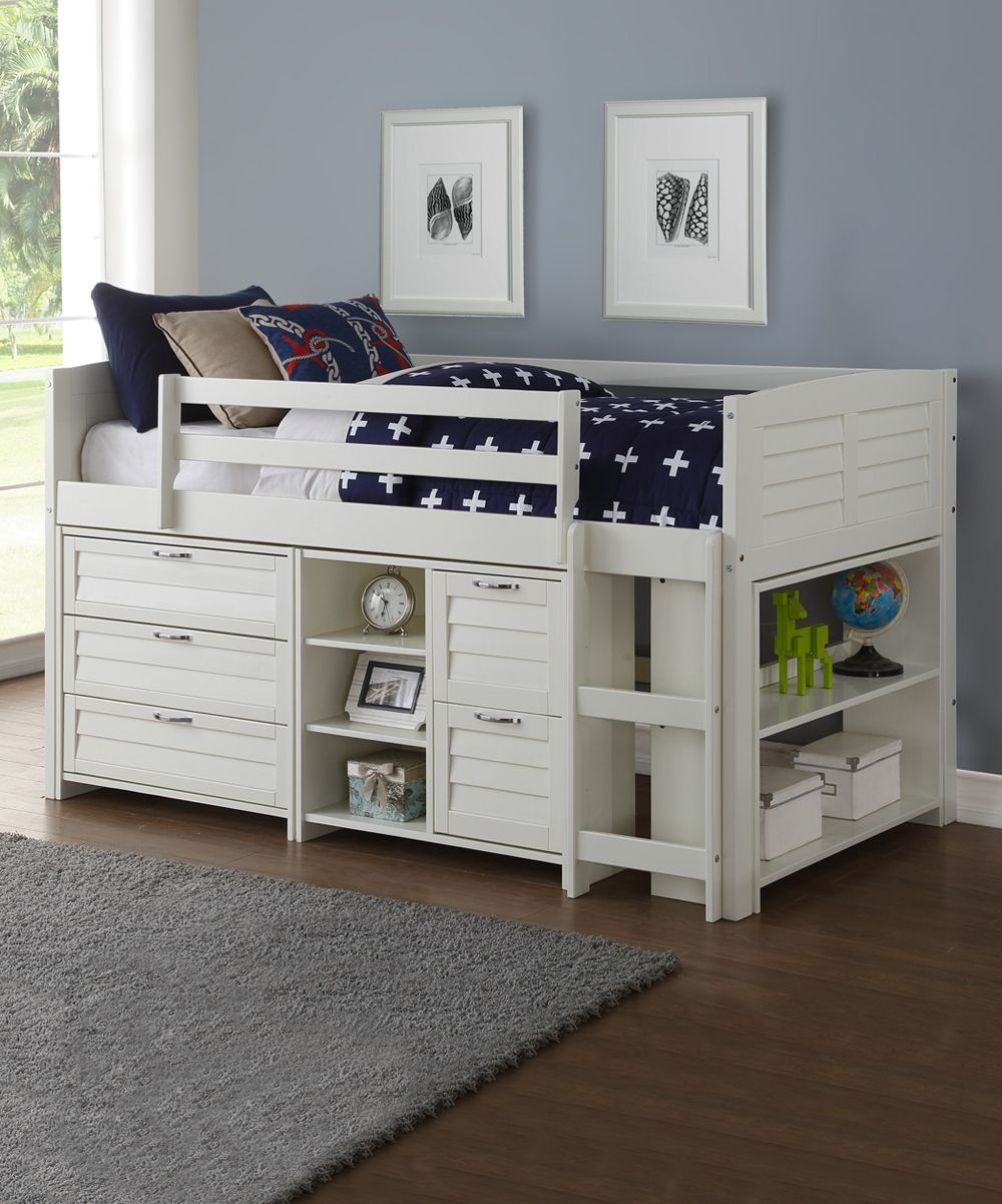 Donco Kids White Louver Twin Modular Loft Bed Frame Combo A