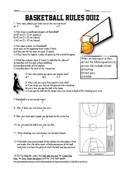 Basketball Quiz Basketball Quiz Physical Education Lesson Plans Health And Physical Education