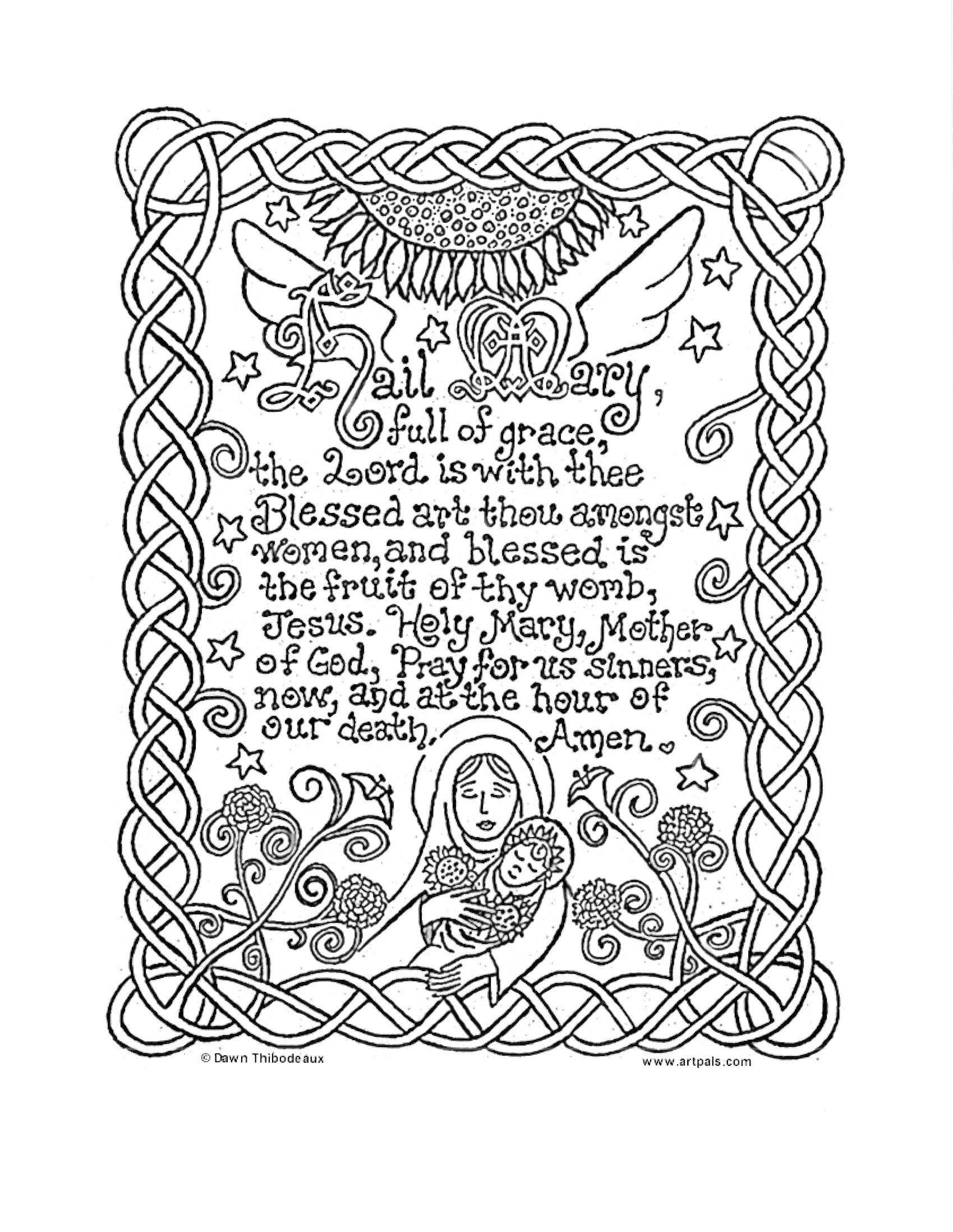 Hail Mary Print Color And Pray The Hail Mary Prayer Hail Mary