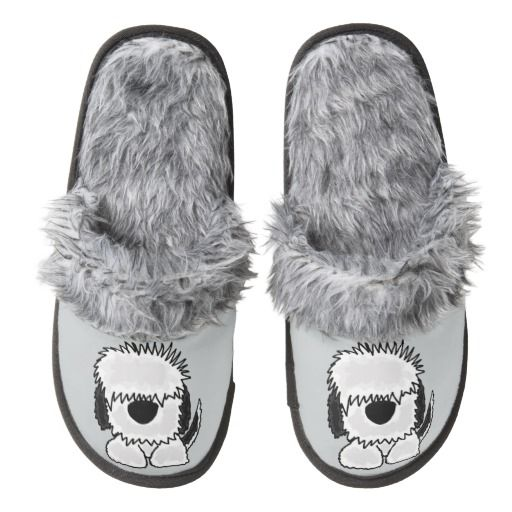 cf4c82f380b38 Funny Old English Sheepdog Slippers  OldEnglish  sheepdogs  dogs  slippers   funny And www.zazzle.com petspower
