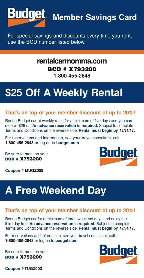 Budget Car Rentals Budget Printable Coupons And Discount Codes