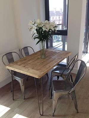 Hairpin Leg Mid Century Vintage Style Salvaged Wooden Pallet Dining Kitchen Table In Reclaimed Retro Oak Made Uk