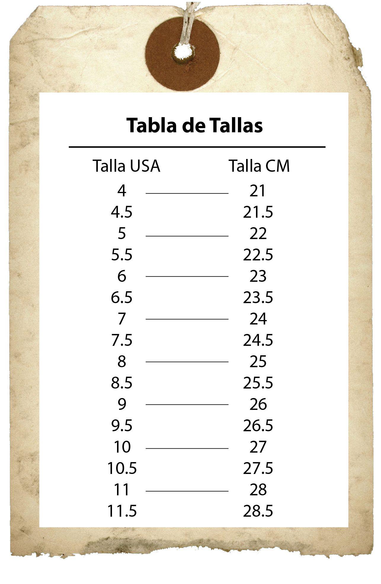 Tabla De Conversion De Tallas De Pulgadas A Centimetros Para Mujer