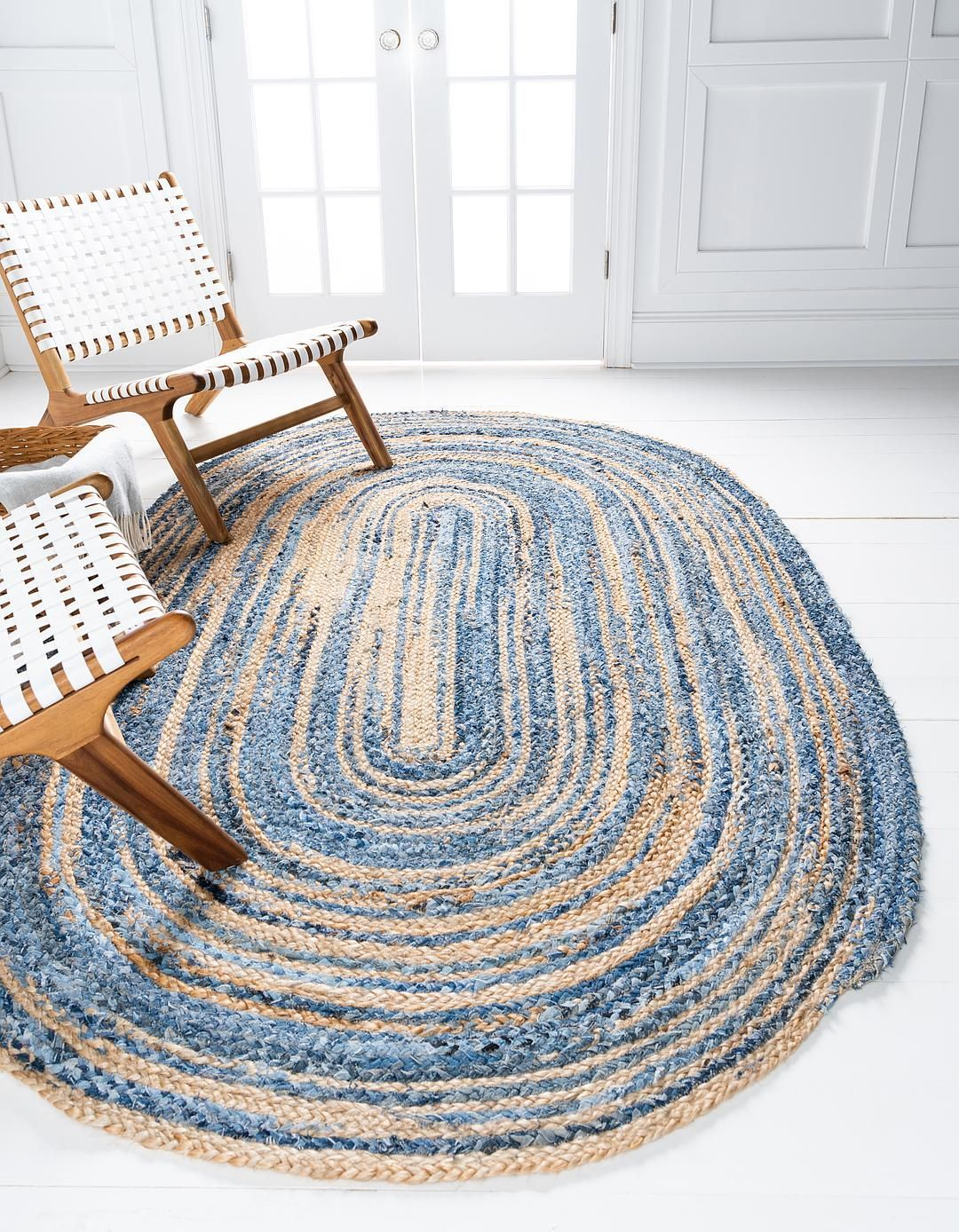 Blue 5 X 8 Braided Chindi Oval Rug Area Rugs Irugs Uk Oval Rugs Round Braided Rug Light Blue Rug