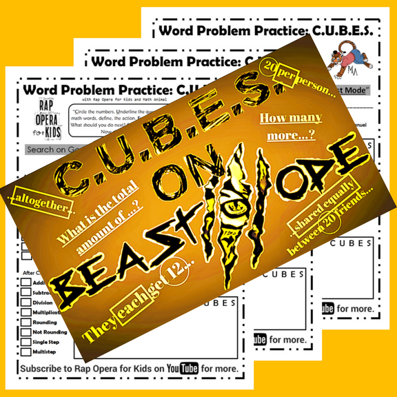 Cubes Strategy Worksheets With Song Math Strategies Word Problems