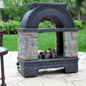 Smal portable outdoor fireplace free standing see through   Porch ...