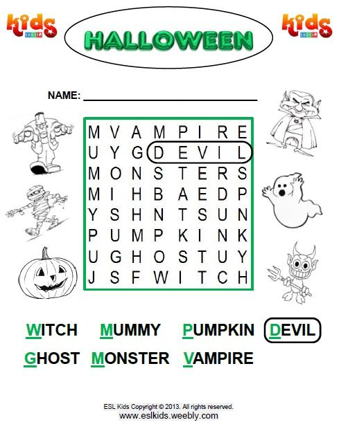Halloween Word Search for Beginners http://www.eslkidz.com/ | Word ...