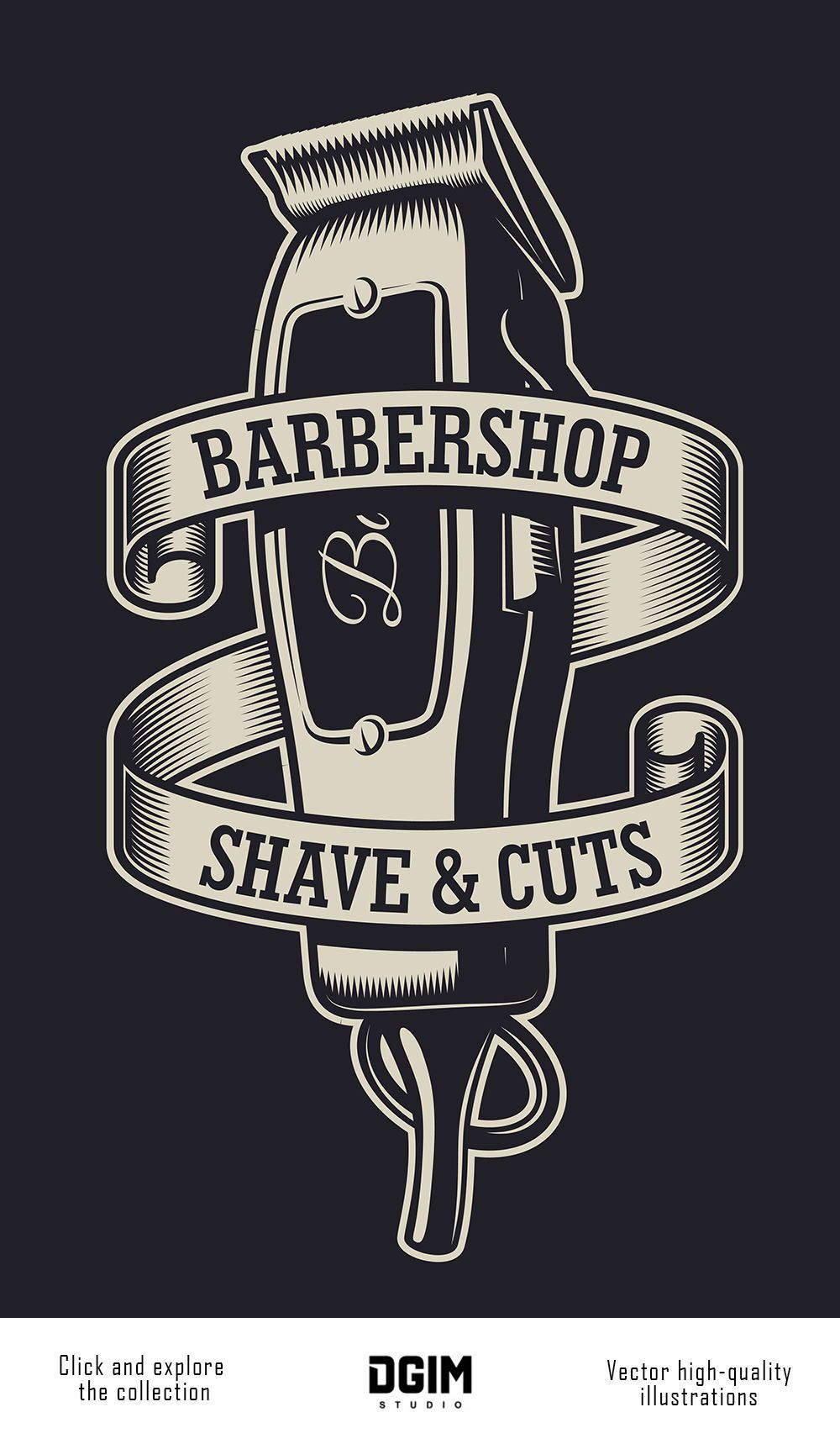Vintage monochrome Barbershop emblem with an electric hair clipper. Super quality & Editable text. CLICK ON THE LINK to find more barbershop elements, badges, emblems and designs. #vectorillustration #vector #illustration #design #dgimstudio #barber#barbershop #hairdresser #electric #hairclipper