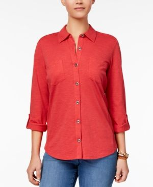 Style & Co Utility Shirt, Created for Macy's - Pink XXL