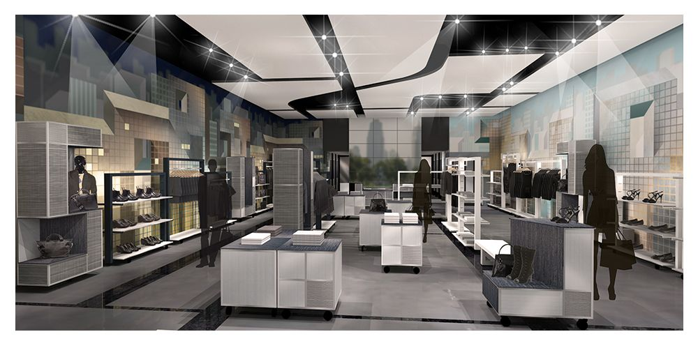 Fashion store prototype rendering looking toward entrance