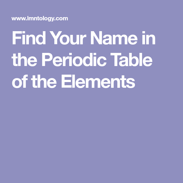 Find your name in the periodic table of the elements my nerdy side find your name in the periodic table of the elements urtaz Gallery