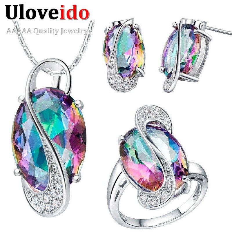 50% de descuento en sistema de la joyería collares y colgantes pendientes de cristal anillo de la joyería de nueva plata encantos de la joyería de la boda establece uloveido subestación blindada t155