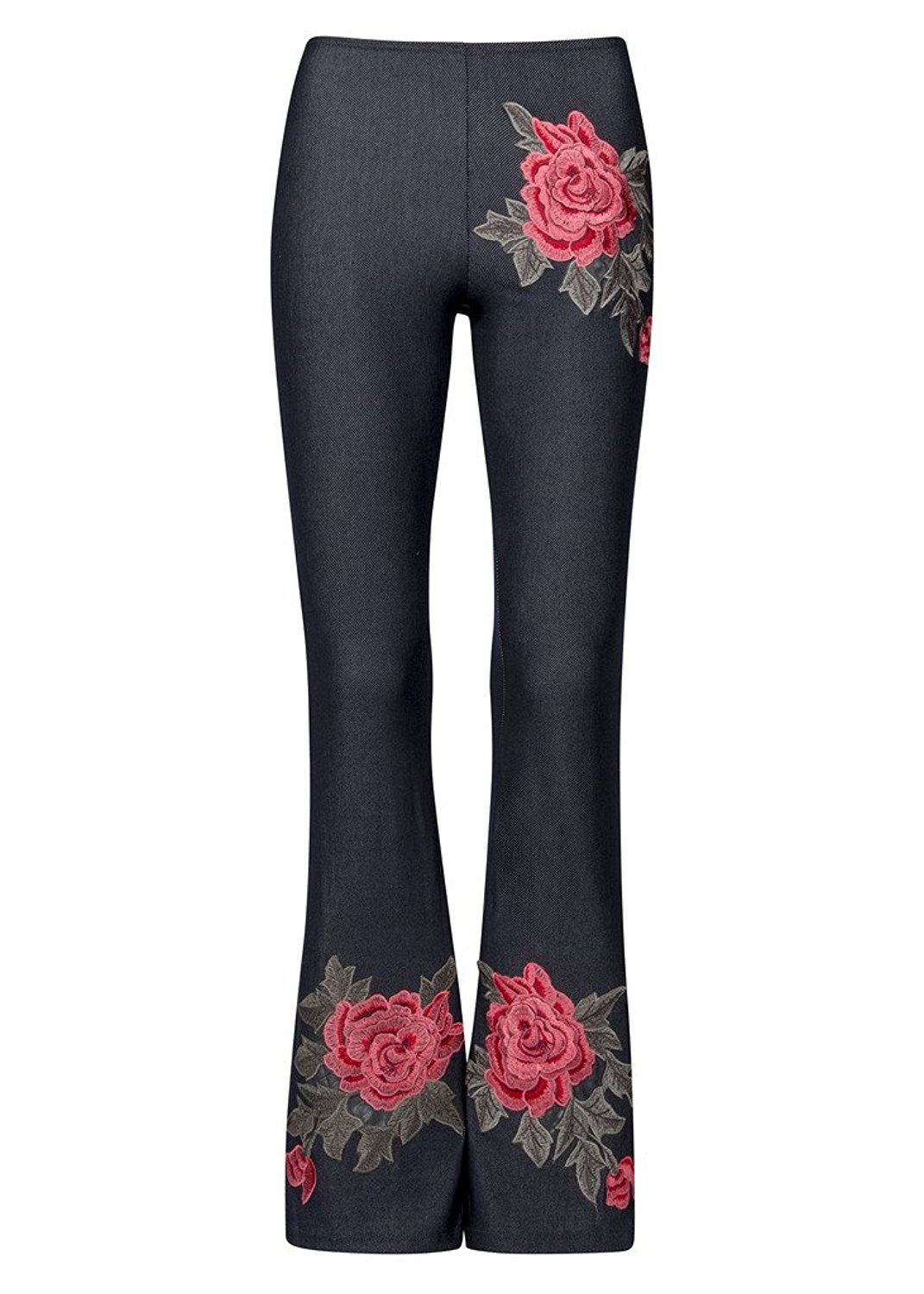 650a51eee Womens Floral Rose Embroidered Flared Bell Bottom Pants - Size Large at Amazon  Women's Clothing store: