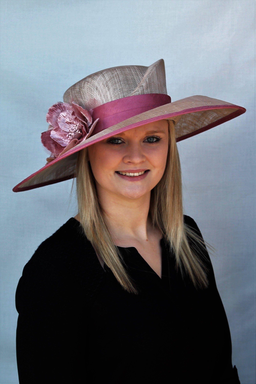 bca48b7f Grey & pink formal wedding hat in 2019 | Accessories by Artisans ...