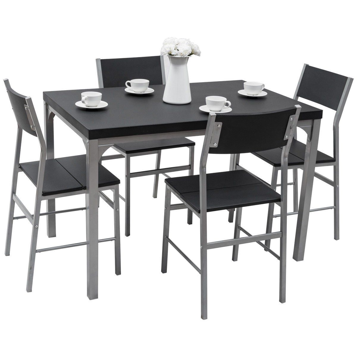 Amazon Com Tangkula Dining Table Set 5 Piece Wood Metal Home