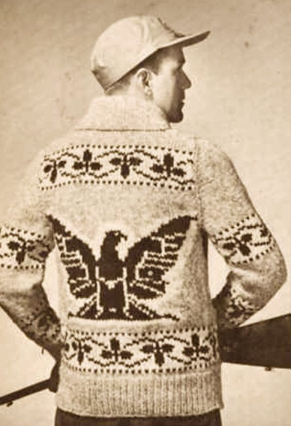 Mens Eagle Sweater Knitting Pattern Native American Eagle Sweater