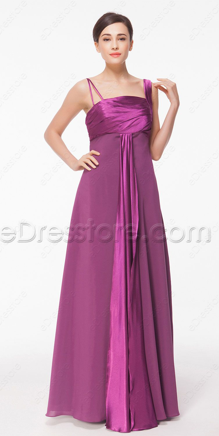 Asymmetrical Magenta Long Autumn Bridesmaid Dresses | Vestidos de ...