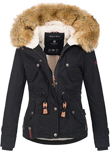 Mantel Details Baumwoll Damen zu Parka Stepp Pauline Kapuze Winter Kunstpelz Navahoo Jacke wmnN80