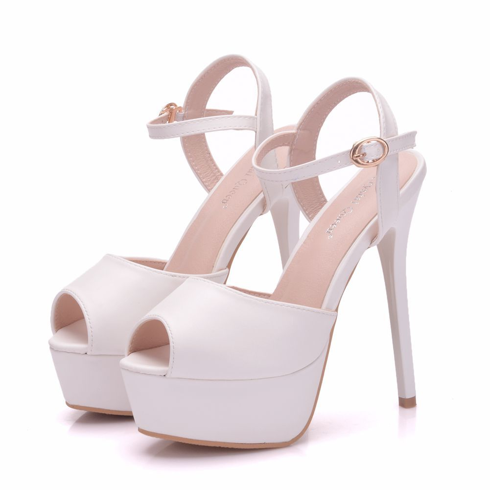 Modest Simple White Evening Party Womens Shoes 2018 Ankle Strap 14 Cm Stiletto Heels Open Peep Toe High Heels Wedding High Heels White Wedding Shoes Peep Toe Wedding Shoes