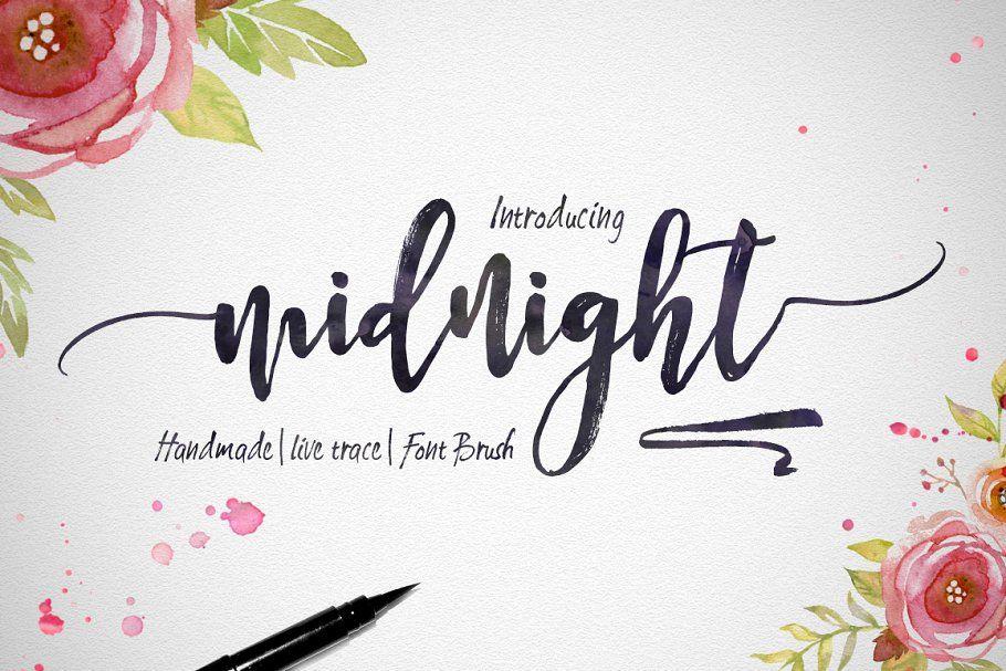Midnight Script Fonts Creative Market Watercolor Font Hand