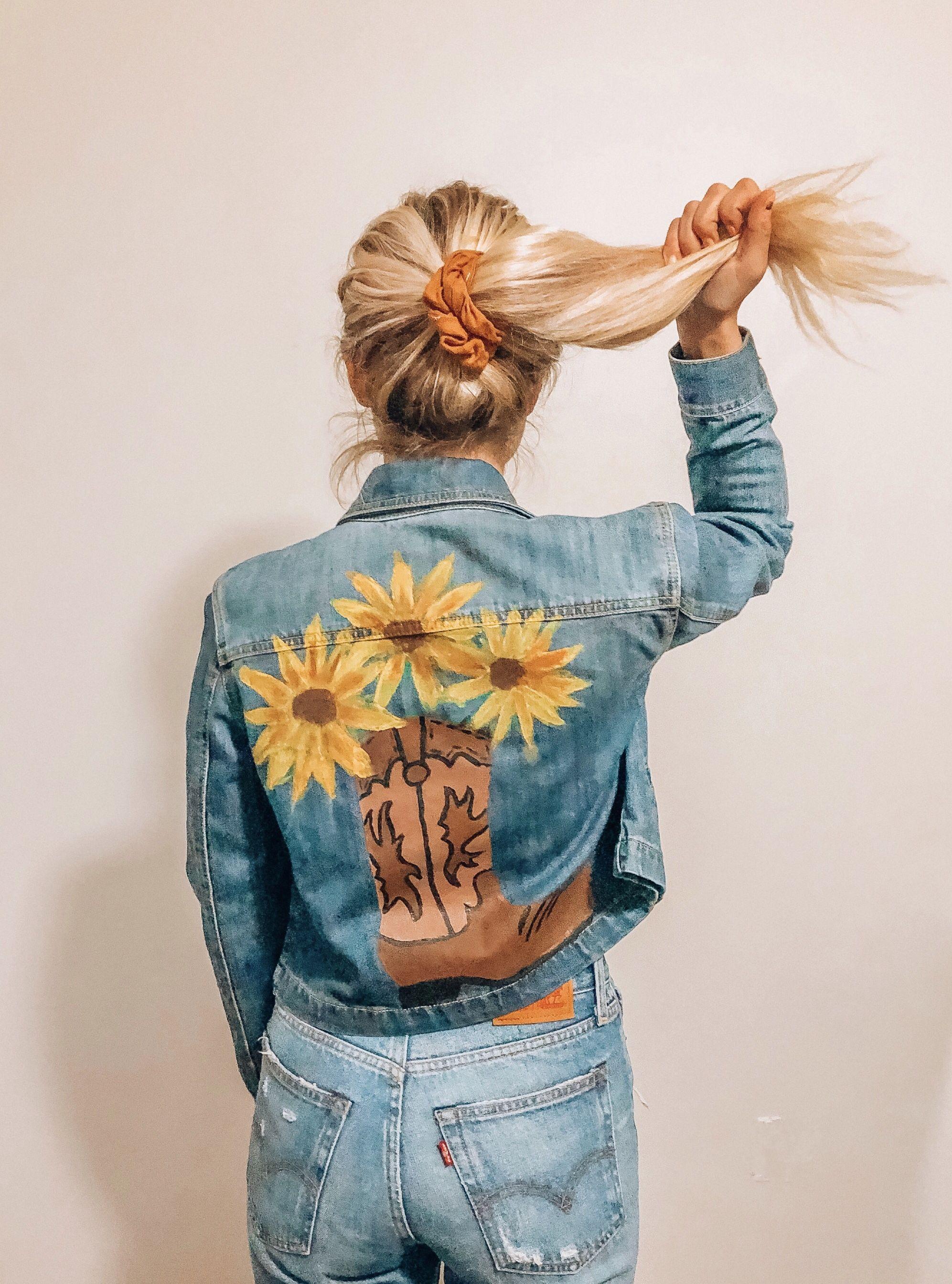 Diy Denim Diy Denim Jacket Hand Painted Denim Jacket Denim Country [ 2688 x 1993 Pixel ]