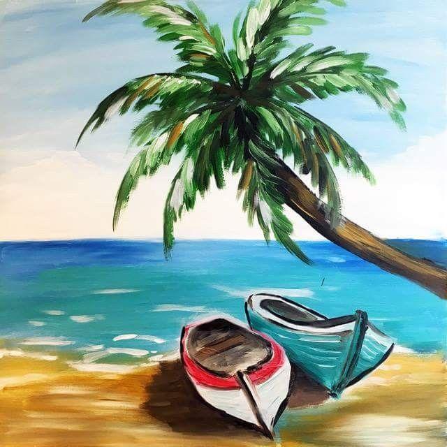 Cannu On Beach Simple PaintingsBeach
